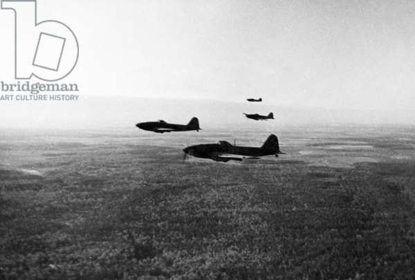 Soviet Ilyushin 2 Stormovik Fighter Planes Headed for the Western Front During World War 2.