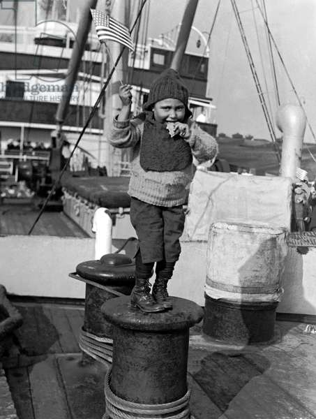 Child Arriving At Ellis Island (b/w photo)