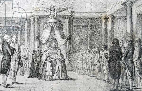 King Joseph Napoleon swearing on the Constitution of Bayonne