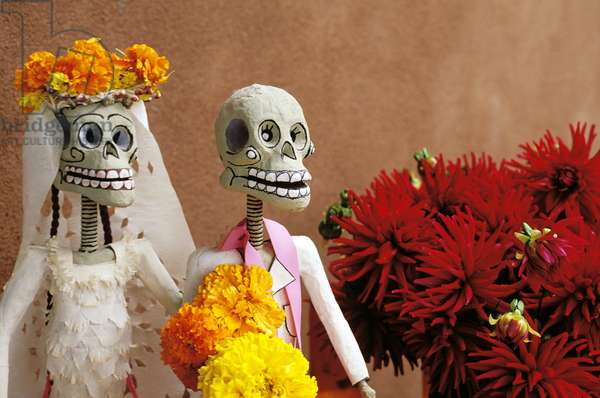 New Mexico, Chimayo - Day Of The Dead Skeletons And Flowers