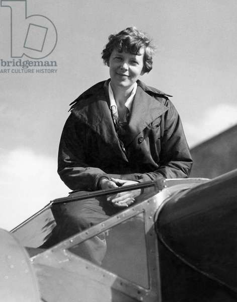 Amelia Earhart In Cockpit (b/w photo)