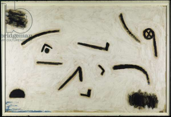 Untitled (signs on black background), C.1940 (colour and glue on paper)