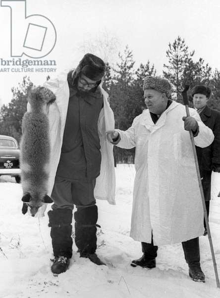 Nikita Khrushchev And Fidel Castro During A Hunt