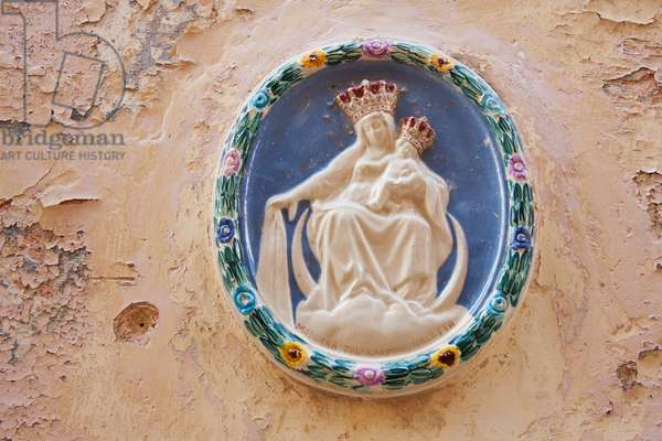 Plaster Image of Virgin and Child on A Wall, Mdina, Malta (photo)