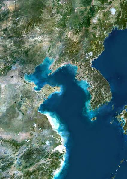 Yellow Sea, Asia, True Colour Satellite Image