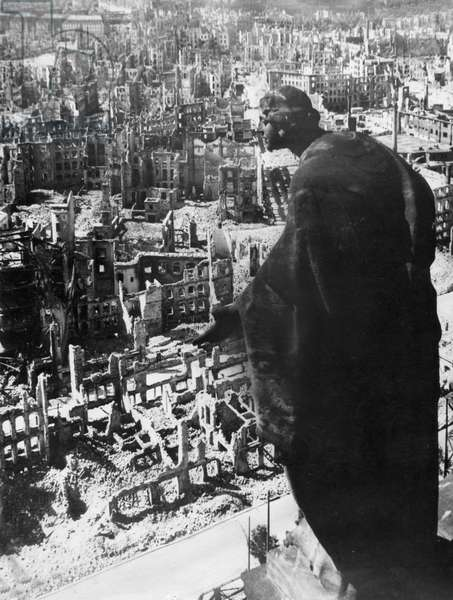Dresden, Germany in 1945 as Seen from the Tower of the Town Hall after the Anglo-American Bombing that All But Levelled the City at the End of World War 2.