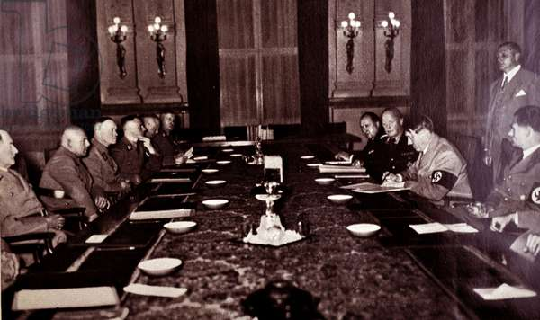 Adolf Hitler and Rudolf Hess  with  Nazi party regional leaders at a meeting in Berlin