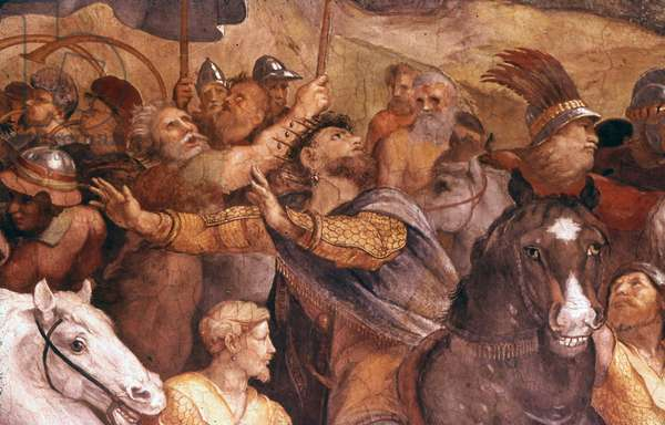 Detail from 'The Meeting of Leo the Great and Attila', 1514. Fresco in the Apostolic Palace, Vatican City, by the Italian Renaissance artist Raphael and his assistant Giulio Romano