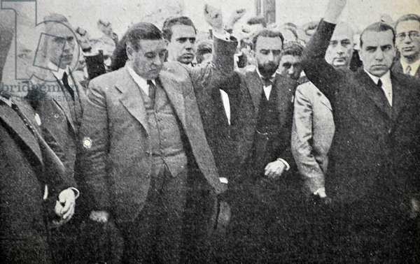 Spanish Civil War: González Peña with the socialist leaders of Badajoz