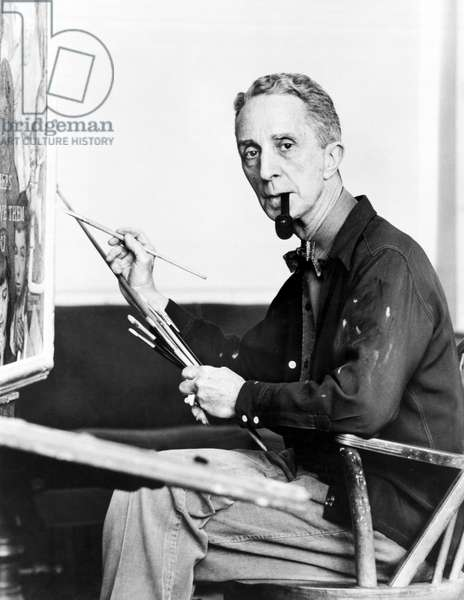 Artist Norman Rockwell, Stockbridge, Massachusetts, c.1959 (b/w photo)