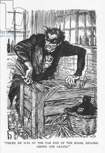 Robert Louis Stevenson The Strange Case of Dr Jekyll and Mr Hyde first published 1886. Dr Jekyll trying desperately to find the chemicals that will enable him to cast off his Mr Hyde persona. Illustration by Edmund J Sullivan from an edition published 1928.