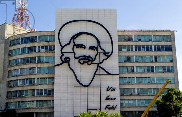 """Revolution Square In Havana, Cuba, With Large Neon Artwork Of Camilo Cienfuegos: """"Your'Re Doing Well, Fidel"""""""