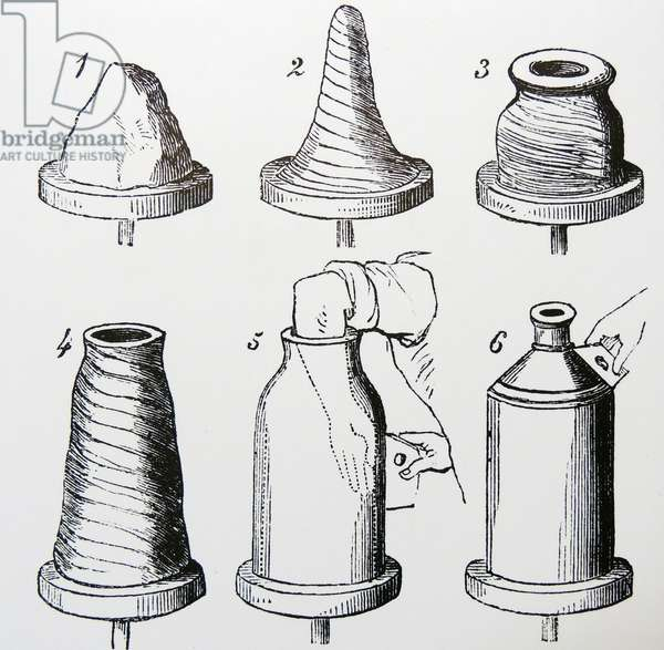 Stages in the throwing of a stoneware bottle. Engraving, London, 1866.
