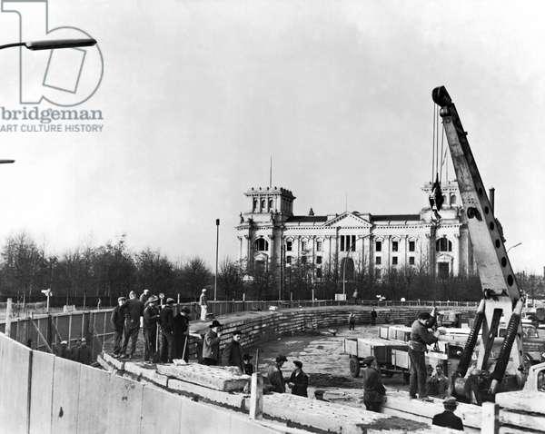 Berlin Wall Construction, Berlin, West Germany, November 30, 1961 (b/w photo)