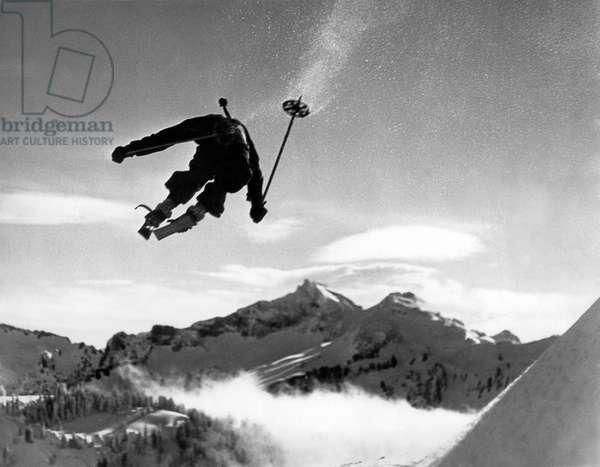 Skiing Over Mt. Ranier (b/w photo)