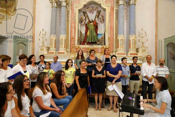 Mass in an Italian catholic church, Choir, Tricase, Italy, 2015 (photo)