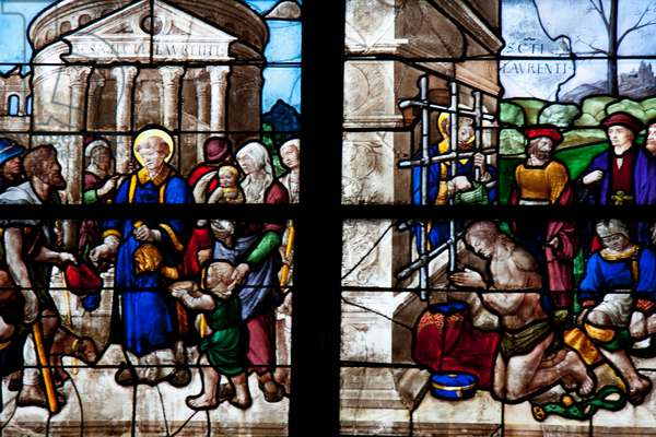 Medieval Stained Glass Window from the 15th Century Depicting the Life and Martyrdom of St. Lawrence in the Cathedral of St Etienne of Bourges, Bourges, Cher, France (photo)