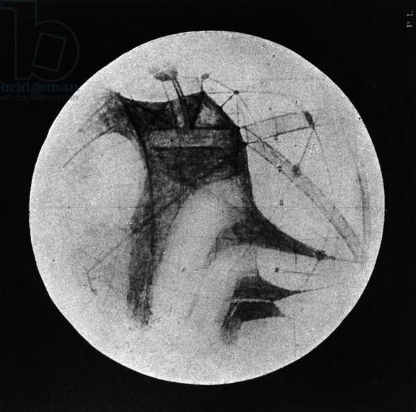 Drawing of Mars showing 'canals' and dark areas. From Percival Lowell Mars London 1896.