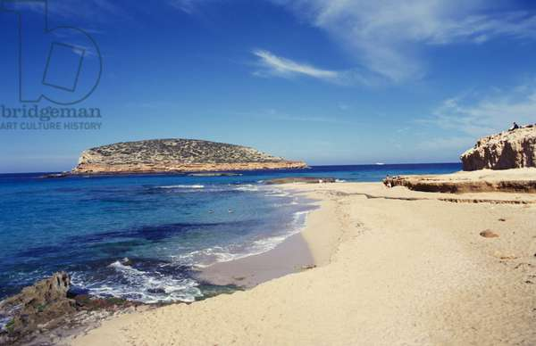 Beautiful empty beach, Ibiza, Spain