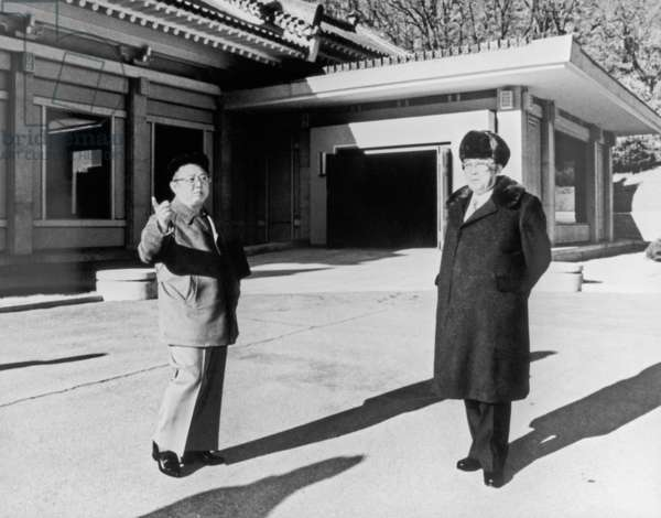 North Korea, President of the Democratic People'S Republic of Korea Kim Il-Sung (R) and Supreme Commander of the Korean People'S Army Kim Jong-Il Near Pyongyang, March 20, 1992.