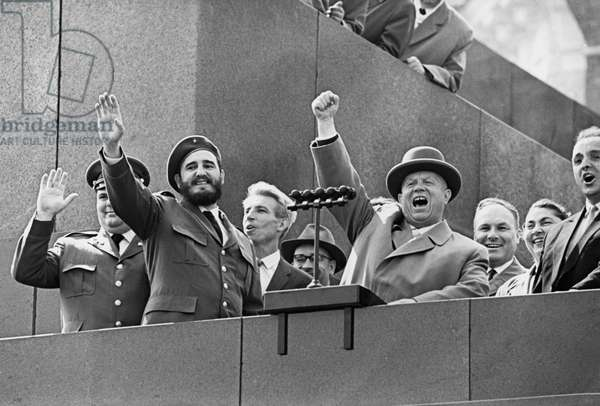 Nikita Khrushchev and Fidel Castro During the Reception in Red Square in Moscow, 1961.