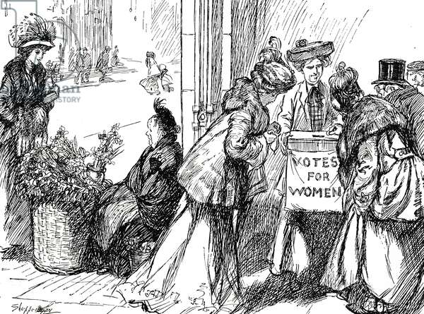 Cartoon commenting on the women's suffrage movement - women are collecting funds for Votes for Women at the expense of working women, 20th century