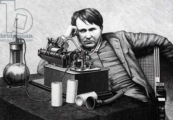 Thomas Alva Edison, listening to a recording of his Phonograph, 1889