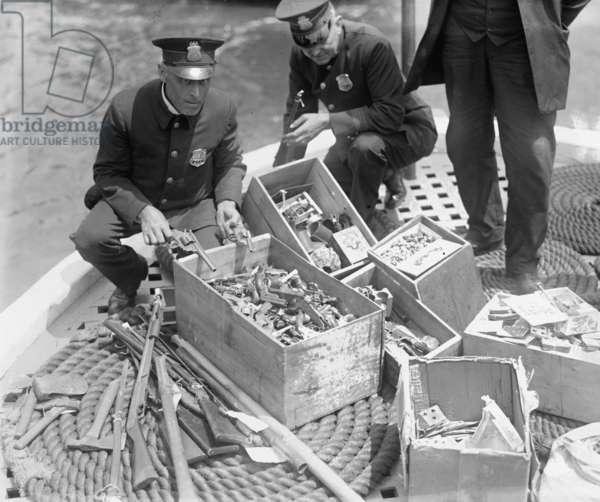 New York Police Destroy Boxes of Revolvers 1923 (photo)