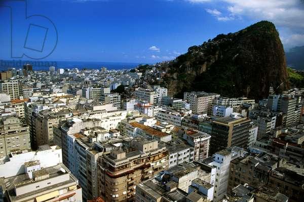 Brazil, Rio De Janeiro,  Copacabana And Ipanema Districts, Pavaozinho Peak To Right