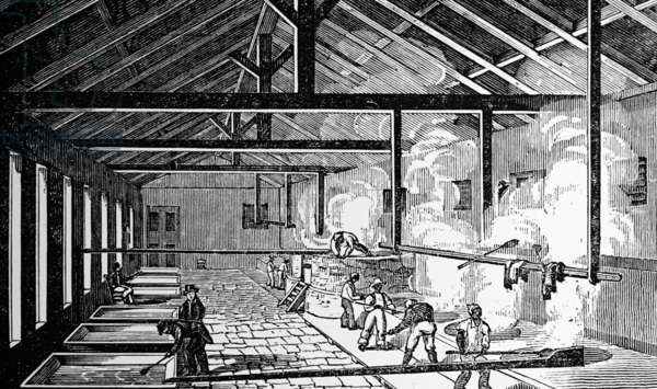 Slave labour working in a sugar boiling house, 1833