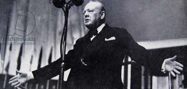 Photograph of Sir Winston Churchill giving his first speech as Prime Minister to the House of Commons