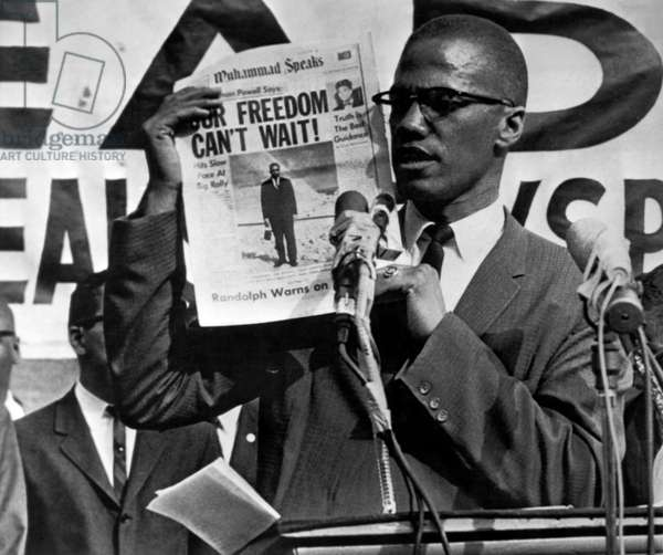 Malcolm X Speaks, 1963 (b/w photo)