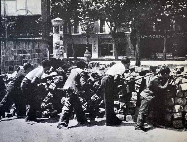 On 19 July 1936 republican barricade in a street in Barcelona. Spanish civil war