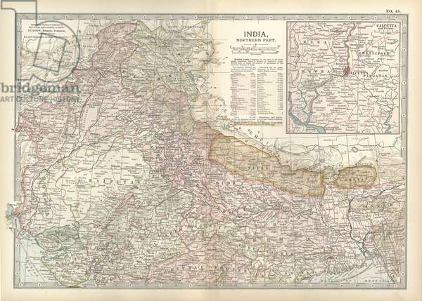 Map of northern India with Calcutta