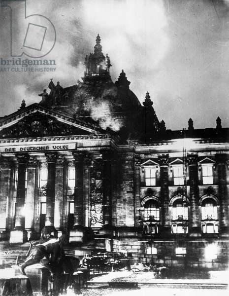The Reichstag building on Fire, 1933