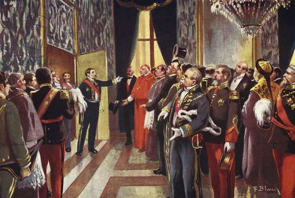 President of the council of ministers, Praxedes Sagasta announces the birth of King Alfonso XIII of Spain 1886