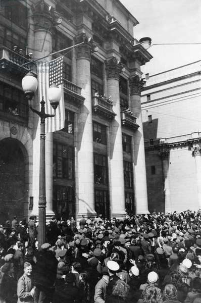 Crowds Outside the American Embassy During Victory Day Celebrations in Moscow, USSR, May, 1945, End of World War 2 in Europe.