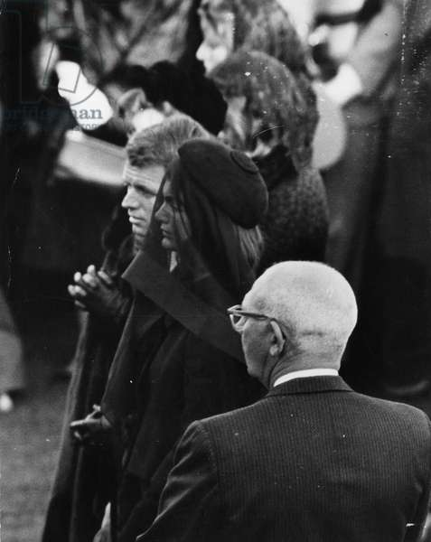 Jacqueline Kennedy, calm and tearless to the end, courageous in her silent grief, at the funeral of her murdered husband, President John Kennedy. 1963.