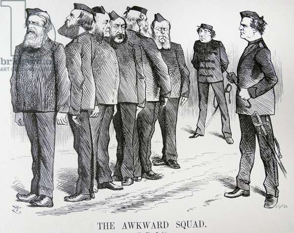 THE AWKWARD SQUAD. John Tenniel cartoon. The difficulties Disraeli was having with different opinions in his cabinet on policies on the Russo/Turkish War