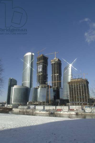 View Of The Moscow International Business Centre : View of the Moscow International Business Centre (MIBC) 'Moscow City' skyscrapers from across the Moskva River in Moscow, Russia, 15/02/12 ©ITAR-TASS/UIG/Leemage