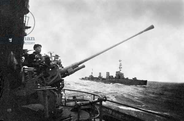 The Black Sea Fleet, Guards Cruisers Supporting Soviet Landing Troops in Novorossiysk by Artillery Fire, 1943.