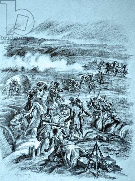 Spanish Civil War: 'Aim better! You are killing our comrades . 'illustration of C. Saenz de Tejada