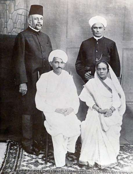 Mohandas Karamchand Gandhi with Mohammed Yakub Hasan and G