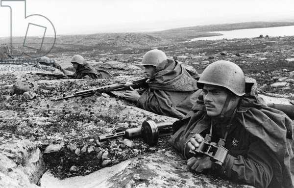 Soviet Marines of the Northern Fleet at a Forward Defensive Line, November 1942.