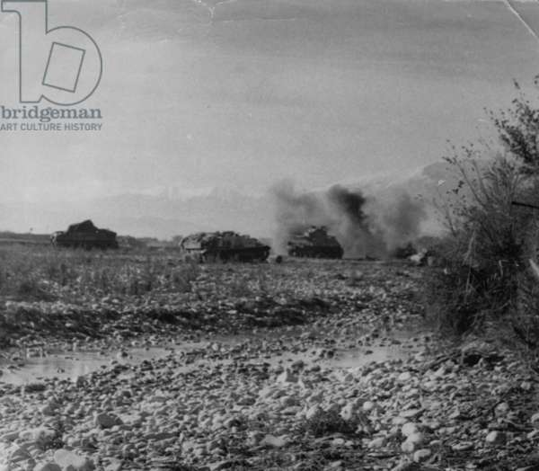 Tanks Getting Involved in the Fighting, 1942 (b/w photo)