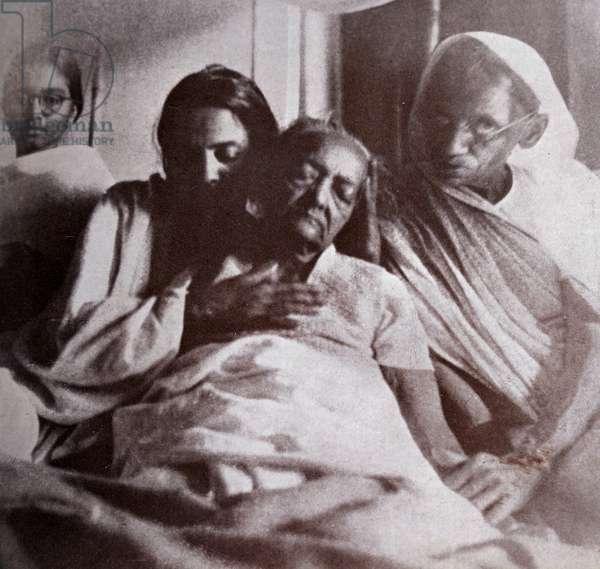 Kasturba Gandhi wife of Mahatma Gandhi on her deathbed, 1944