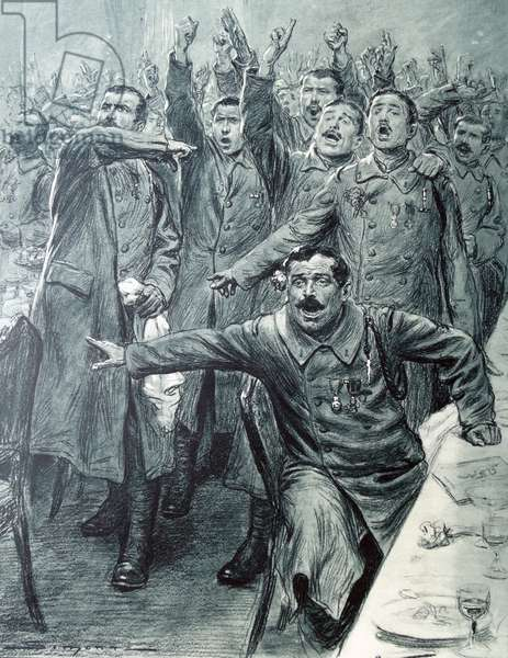 French officers cheer a patriotic speech, 1914
