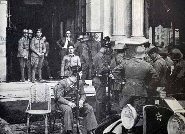 Group of nationalist infantry occupying a hotel during the Spanish civil war, Barcelona 1937