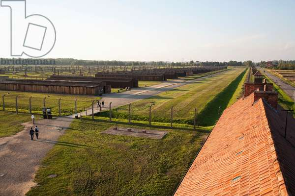 View of the Medical Barracks from the Main Guard House, Auschwitz-Birkenau Concentration Camp, Oswiecim, Malopolska, Poland (photo)