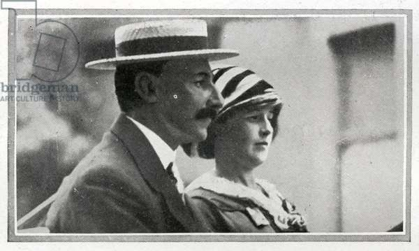 Mr and Mrs Astor, First Class passengers on Titanic.  Madeleine Force and John Jacob Astor had been on an extended honeymoon in Egypt and Paris and in the spring of 1912, decided to return to America on board Titanic.  They boarded the Titanic at Cherbourg with Colonel Astor's manservant Mr Victor Robbins , Mrs Astor's maid Miss Rosalie Bidois and their pet Airedale Kitty. Also accompanying the Astors was Mrs Astor's private nurse Miss Caroline Louise Endres. Madeleine Astor was five months pregnant when her husband put her in one of Titanic's lifeboats. She was rescued eight hours after her husband went down with the ship. In August 1912, she gave birth to a son with whom she was pregnant on the Titanic , and she named him after her husband, John Jacob Astor. Titanic was built by Harland & Wolff in Belfast Ireland during 1910 - 1911, and sank on 15th April, 1912, after striking an iceberg off the coast of New Foundland during her maiden voyage from Southampton, England to New York, USA, with the loss of 1,522 passengers and crew. (Photo by Titanic Images/Universal Images Group). Photographie ©UIG/Leemage